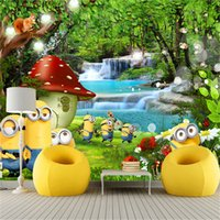 Wholesale Minions House - Custom Photo Mural Wallpaper For Wall 3D Cartoon Character Minions Landscape Wall Paper Roll Kid's Room Living Room Wall Cover