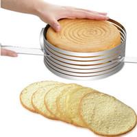 kuchen schicht schneidemaschine großhandel-Küchenschneider Metall Kreis Einstellbare Edelstahl Mousse Kuchen Schicht Cut Tools Kuchen Slicer Gerät Form Backformen Kochen Kuchen Werkzeuge