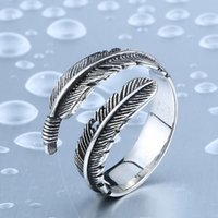 Wholesale Dhgate Designs - Dhgate New Designed Vintage Feather Ring 316L Stainless Steel Rerto Leave Ring For Man Woman Never Fade BR8-306