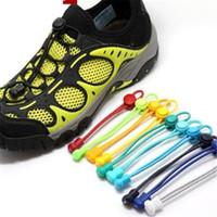 Wholesale lock laces shoelaces - 100CM Fashion No Tie Locking Shoelaces Sneaker elastic New Creative Locked Shoelaces Children Safe Elastic Shoe lace