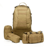 Wholesale Canvas Tactical Backpack - New arrival 50L Molle Tactical Assault Outdoor Military Rucksacks Backpack Camping Bag Large 11Color 5 pcs