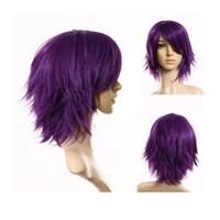 Wholesale Cosplay Purple Straight Wig - Fashion Lady Short Purple Straight Wig New Cosplay Party Men's Women Full Wigs