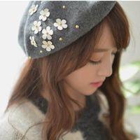 "Wholesale Knit Hats Beads - Wholesale-""MASCOTT"" winter wool knit beret Female painters newboy cap manual nail bead flower hat accessories"