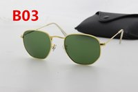 Wholesale European Sunglasses Brands - 1pcs European and American brand designer hexagonal glass lens sunglasses fashion men's high quality gold frame uv400 sunglasses