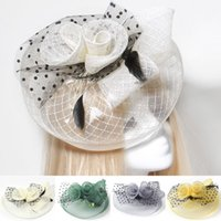 Wholesale cocktail hats china resale online - Fashion New Lady Party Cocktail Women Fascinator Wedding Feather Lace Veil Hat Hair Clip Headwear Gift Yellow Green Grey