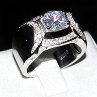 Wholesale Rings Men 925 - Fine Jewelry 100% silod 925 Sterling Silver side Ring Round cut 1.2CT Diamond Gemstone Rings Engagement Wedding Bands ring for Men Boys gift