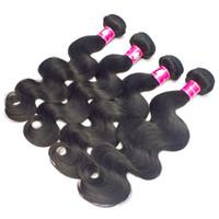 brazilian remy saç fiyatı toptan satış-Fabrika Toptan Fiyat 10 paketler / lot Bakire Brezilyalı Vücut Dalga Saç Örgü 1B Siyah Kadınlar Için Siyah İnsan Remy Saç Atkı Forawme