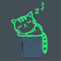 Autocollants lumineux Autocollant Sleepy Cat Switch Glow in the Dark Funny DIY Décoration intérieure Living Room Fluorescent Sticker Poster