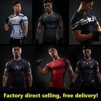 Wholesale Lycra Shirts Men - 2017 new T shirt Compression Shirt Crossfit T-shirt Men Lycra 3D Printed Long Sleeve T shirt Fitness Brand Clothing MMA Plus Size