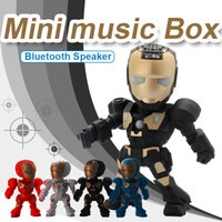 Wholesale Mini Iron Boxes - C-89 Iron Man Bluetooth Wireless Speaker Mini Portable Multimedia Speaker with LED Flash Liight FM Radio Mini USB Music Speaker Music Box