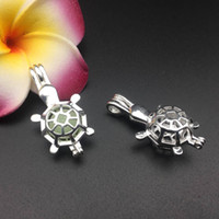 Wholesale Brass Turtle - Pearl cage necklace pendant, essential oil diffuser, sea turtle provides silver-plated 10pc, plus your own pearl makes it more attractive