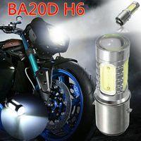 Wholesale Led For Motor Bike - 12V BA20D H6 4 COB LED White Bulb Light Fit For Motor Bike Moped ATV Headlight Super bright wholesale!