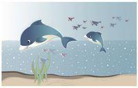 ingrosso la carta da parati della stanza dei bambini libera il trasporto-3D murales carta da parati immagine personalizzata parete murale Sea Whale Kids Room 3D soggiorno carta da parati Spedizione gratuita