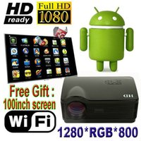 Wholesale free more games - Wholesale-Partly Free Android 4.4 HD Projector DroidBeam 5500 Lumens More Led Projector Digital Video Game Portable 3D TV Smart Projector