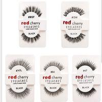 insan saç kirpikleri toptan satış-12 çift / paket Yanlış Kirpik Yumuşak Kırmızı Kiraz Kirpikler İnsan Saç Göz Lashes Makyaj Güzellik Araçları Kirpik Uzatma
