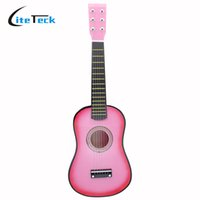 "Wholesale Red Guitar Toys - Wholesale- High Quality 23"" Mini Guitar Guitarra Basswood Acoustic Guitar Kid's Musical Toy Stringed Instrument with Plectrum 1st String"