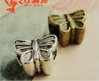Wholesale Bronze Loose Beads - 12*8*8MM Antique Bronze Retro butterfly charms big hole beads jewelry accessories DIY material, tibetan silver european metal loose beads
