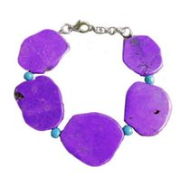 Wholesale Purple Copper Turquoise Bracelet - Woman Bracelet 20x35mm Deep Purple Turquoise Slice Stone Handmade Adjustable