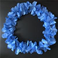 Wholesale Wholesale Festive Wreaths - Dark Blue Hawaiian Hula Leis Festive Party Garland Necklace Flowers Wreaths Artificial Silk Wisteria Garden Hanging Flowers 100pcs lot