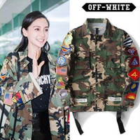 Wholesale Womens Fashion Military Jacket - High Quality Mens male Womens Justin Bieber Camouflage Off-White Jacket Kanye West Fashion Military Camo Off Jackets And Coats