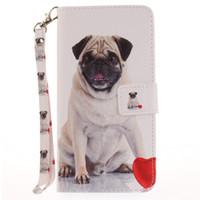 Wholesale Flip Paint - Painted Pugs dog pattern flip stand PU leather case for iphone 5 5s 6 6 6s 6plus 6splus 7 7 plus card slot wallet phone cases