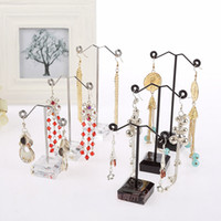 Wholesale earring stands - 3pcs Set Black Acrylic Metal Earrings Display Holder 9 11 13cm Jewelry Display Stand For Tassel Dangle Earrings Holder Exhibitor