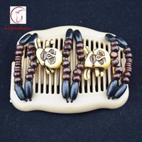 Wholesale Stretchy Hair Clip Comb - SKULL beads halloween style 100pcs lot vintage magic comb new hair accessories beads wood stretchy hair clip slide combs free shipping