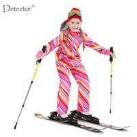 Wholesale Kids Thermal Pants - Detector Girls Ski Suit Waterproof Kids Ski Jacket Ski Pants thermal boys Phibee high quality Winter Clothing -30 degree