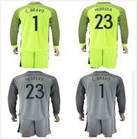 Wholesale Fluorescent Jerseys - 2016 17 Long Sleeve Copa America Soccer Jerseys Sets Uniform #1 C.BRAVO #23 HERRERA Fluorescent Green Goalkeeper Football Chile Jersey Kits