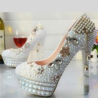 talons de demoiselle d'honneur d'or achat en gros de-Gros or gland fleur Cendrillon chaussures de bal de soirée haute talons perles strass à la main de mariage demoiselle d'honneur chaussures de mariage 098