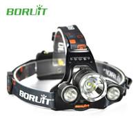 Wholesale boruit flashlight - Boruit RJ-3000 Headlamp LED Flashlight Head Light XML T6 +2R5 3000 Lumens 4 Modes Waterproof with Charger for Fishing Hiking