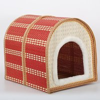 Wood outdoor pet cages - New pet dog bed dog cotton Summer Bamboo Weaving Kennel The Cat Cage Villa Summer Sleeping Mat