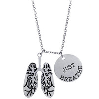 Wholesale Human Anatomy Skeletons - Vintage Alloy anatomy Human chest pleural dual Two lobes lung Necklace double Pendant round card just breathe Lettering Necklace Women x387