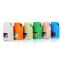 Wholesale Gray Kraft Paper - 8cm*15.5cm food grade packaging embossing white blue orange green gray pink cardboard kraft paper box with window