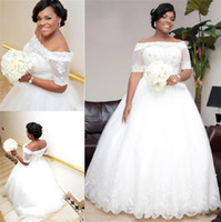 Wholesale New Arrival Plus Size Wedding Gowns Off Shoulder Half Sleeve Bandage Back Ball Gown Bride Dresses Hard Beaded Tulle Bridal Dress