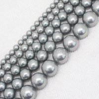 Wholesale Shell Pearl Loose Round Beads - AA+ 4mm-20mm South Sea Grey Shell Pearl Round Loose Beads 15""