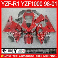 Wholesale Yamaha R1 Body - 8Gift 23Color Body For YAMAHA YZF 1000 R 1 YZFR1 98 99 00 01 61HM21 red black YZF1000 YZF R1 YZF-R1000 YZF-R1 1998 1999 2000 2001 Fairing