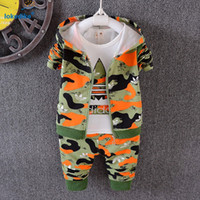 Wholesale Olive Green Coats - Wholesale- 3 pieces Toddler Boys clothes Autumn 2017 New Fashion Camouflage Sport Tracksuits Fall Kids Boys Clothing Set Hooded Coat T1804