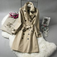 Wholesale Trench Coat Ship - Water feed long coat trench coat denim trench coat casacos feminino free shipping New high-end women's wholesale 033
