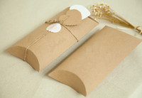 Wholesale Thank Boxes - Lovely Kraft paper box Paper Gift Packing Box New Style Kraft Pillow Shape Craft Box Green Poly Bag Thank You Stickers