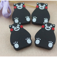 Wholesale Cartoon Mascot Girl - Mascot kumamon Children's Accessories 2017 New Cute Cartoon Bear Wooden Baby Pin Brooch Fashion Boys Girls Gift C138