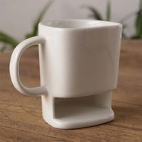 Wholesale Office Coffee Holders - 250ML Ceramic Mug White Coffee Tea Biscuits Milk Dessert Cup Tea Cup Side Cookie Pockets Holder For Home Office WA2144