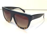 leopar tepeleri toptan satış-Lüks 41026 Vintage Güneş Gözlüğü Audrey Moda Kadınlar Tasarımcı Büyük Çerçeve Flap En Boy Güneş Gözlüğü Leopar Pc Tahta ...