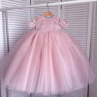 Wholesale Cheap Lace Flowergirl Dress - Lace Ball Gown Flower Girls Dresses For Weddings Appliqued Beads Big Bow Flowergirl Dress Cheap Little Baby Pageant Gowns