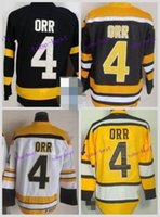 Atacado Boston Bruins Ice Hockey # 4 Bobby Orr Jersey Preto Branco CCM Throwback Vintage Authentic 2016 Winter Classic Jerseys