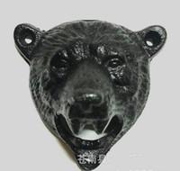 ingrosso beer bar tappo superiore-Vintage Style Cast Iron Bear Design Birra Soda Top Opener Parete di vetro Bottle Cap Opener Durevole Kitchen Bar Openers Tools