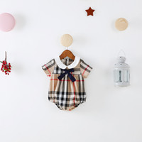 Wholesale Girl Sleeveless - INS new arrivals summer baby kids climbing romper sleeveless plaid color suspender romper girl kids romper summer rompers