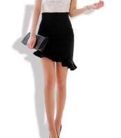Wholesale Tighter Waist Ruffles - 2017 Women Sexy Asymmetry Ruffles Skirt Black Elasticity High Waist Skirts Plus Big Size S-3XL Slim Tight Bias Skirt