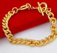 Atacado- Thick Men OT Bracelete de fivela Real Yellow Gold Filled Solid Link Chain Bracelet Bangle Fashion Fine Jewelry