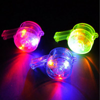 Wholesale Colorful Favors - Colorful LED Glowing Flashing Whistle Noise Maker Children Sports Meeting Cheering Props Whistles Party Favors